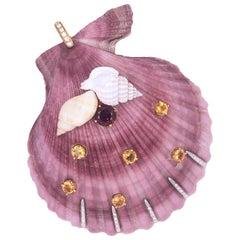 Berca White Diamond Red Garnet Yellow Citrine Light Purple Shell Shaped Pendant