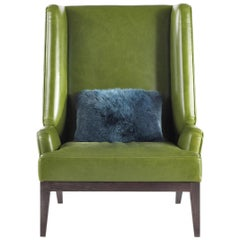 Berchet.2 Armchair in Leather with Glossy Wenge Finish Base by Roberto Cavalli