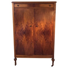 Berdermeier Directoire Walnut Armoire/Wardrobe on Castors