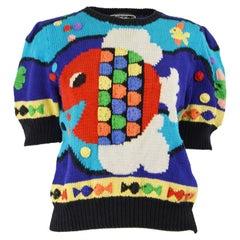 Berek Vintage Hand Knit in Uruguayan Pima Cotton Novelty Fish Sweater, 1987