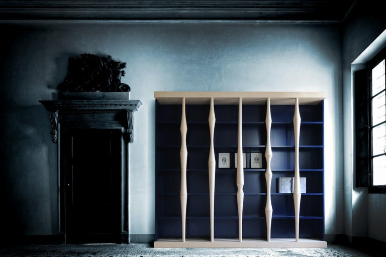 Hand-Crafted Berenice, Bookcase with Hand Turned Lances in maple wood, by Luca Scacchetti For Sale