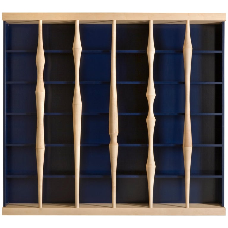 Berenice, Bookcase with Hand Turned Lances in maple wood, by Luca Scacchetti For Sale