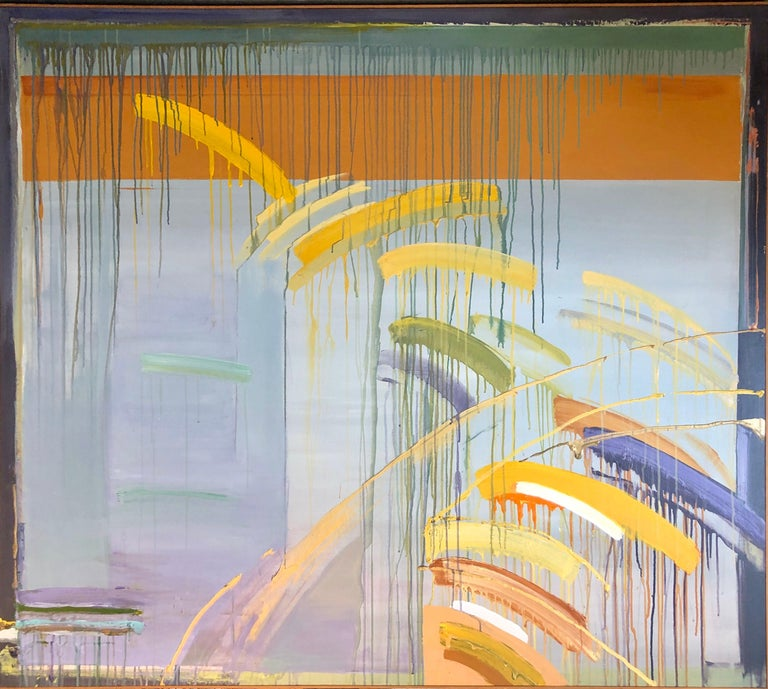 """Berenice D'Vorzon (American, 1932-2014), """"Yellow Fall"""", 1980-1981, large sale painting oil on canvas, signed """"Berenice D'Vorzon"""" and dated verso, gallery label verso, 60""""h x 68""""w (canvas), 60.25""""h x 68.25""""w (frame)  Provenance: Marian Locks Gallery,"""
