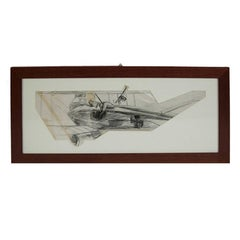 Indian ink drawing depicting a Berg Av C I WWI Aircraft