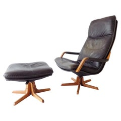 Berg Furniture Danish Leather Lounge Chair with Ottoman, Mid-Century Modern
