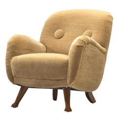 Berga Mobler Easy Chair in Mohair and Oak