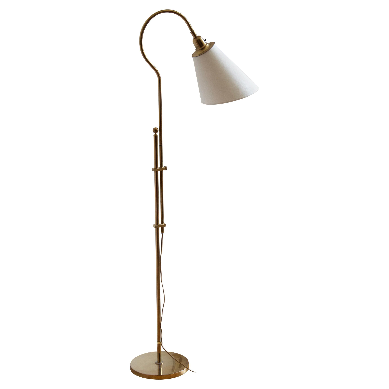 Bergboms, Adjustable Floor Lamp, Brass, Fabric, Sweden, 1970s