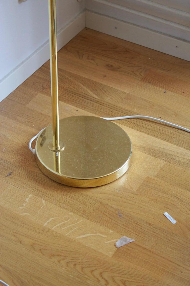 Swedish Bergboms, Adjustable Floor Lamps, Brass, Fabric, Sweden, 1970s