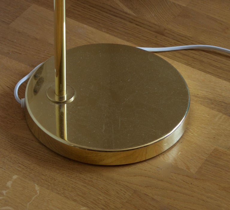 Bergboms, Adjustable Floor Lamps, Brass, Fabric, Sweden, 1970s In Good Condition In West Palm Beach, FL