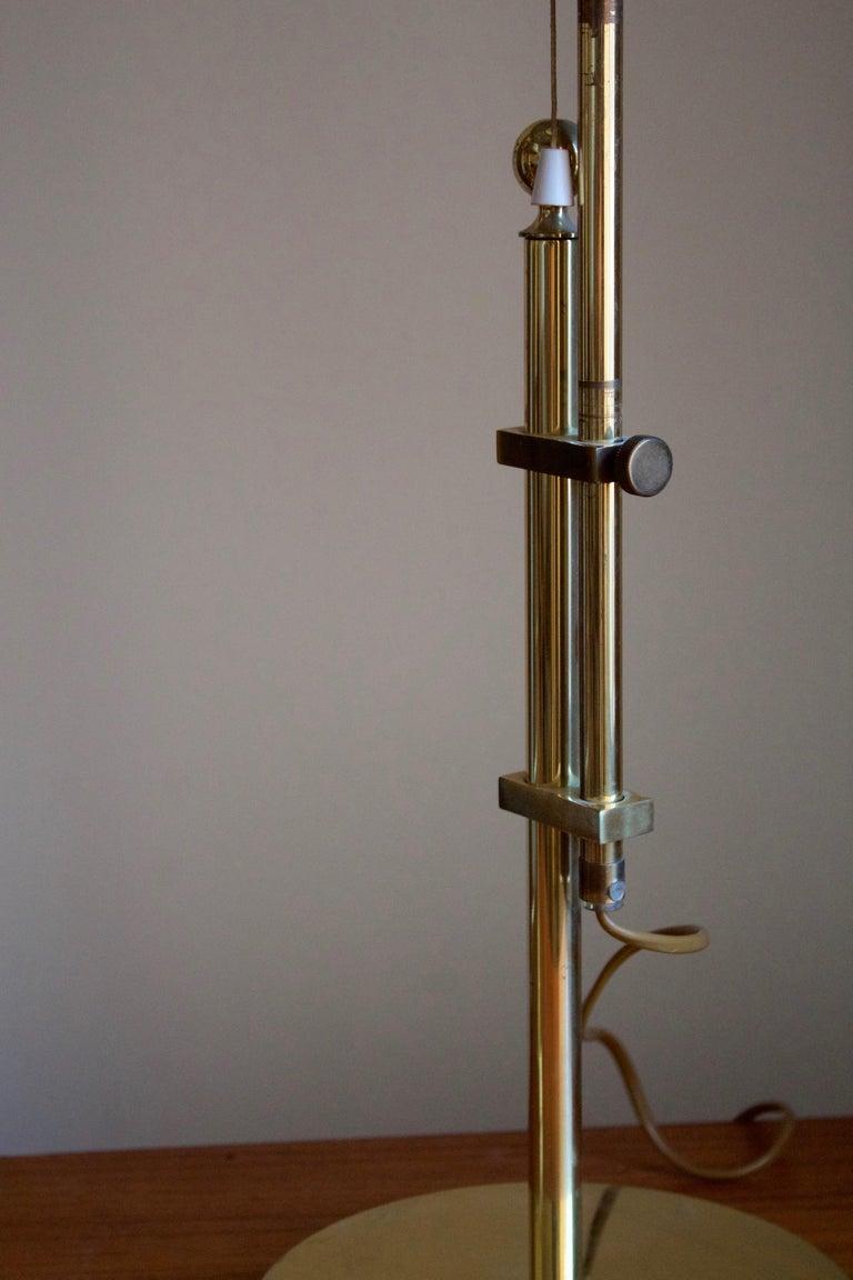 Swedish Bergboms, Adjustable Table Lamp, Brass, Rattan, Sweden, 1960s For Sale