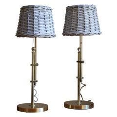 Bergboms, Adjustable Table Lamp, Brass, Rattan, Sweden, 1960s