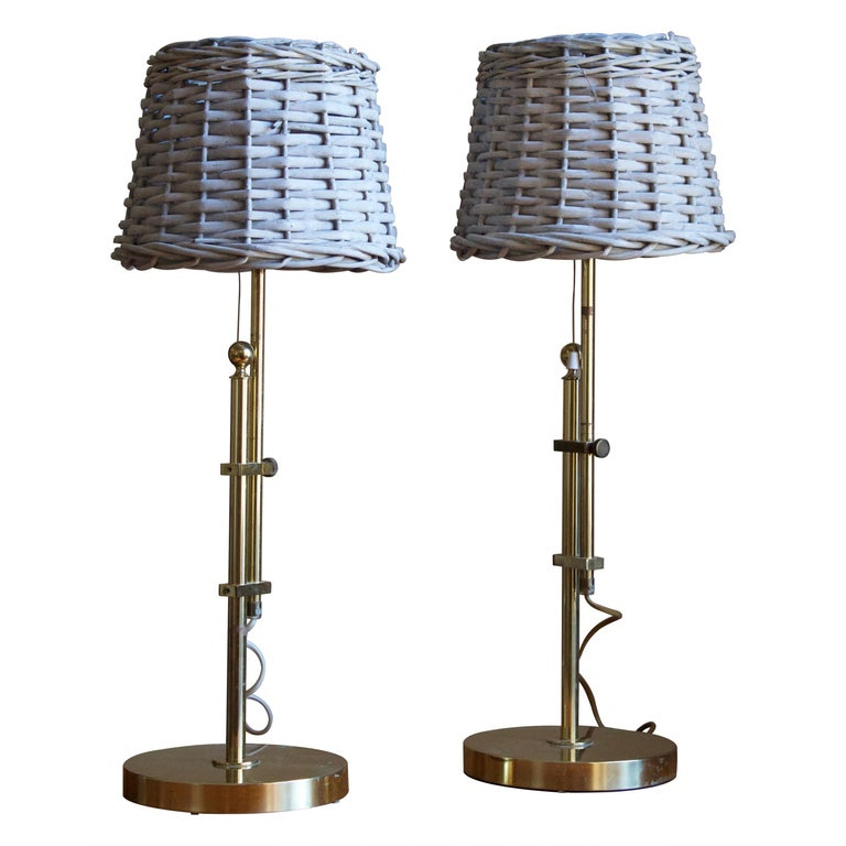 Bergboms, Adjustable Table Lamp, Brass, Rattan, Sweden, 1960s For Sale