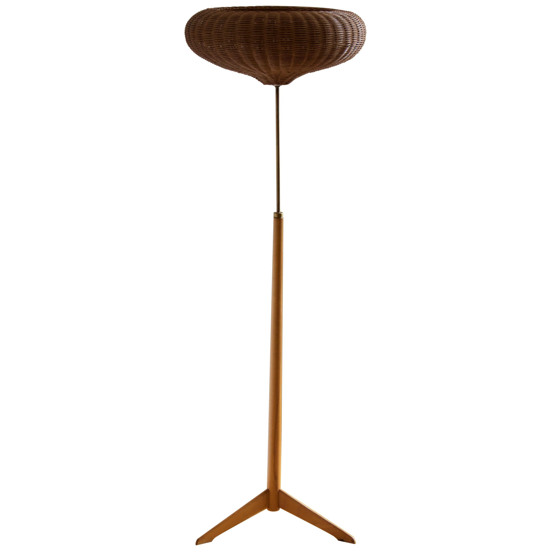 Bergboms, Floor Lamp, Brass, Stained Oak, Rattan, Sweden, 1950s