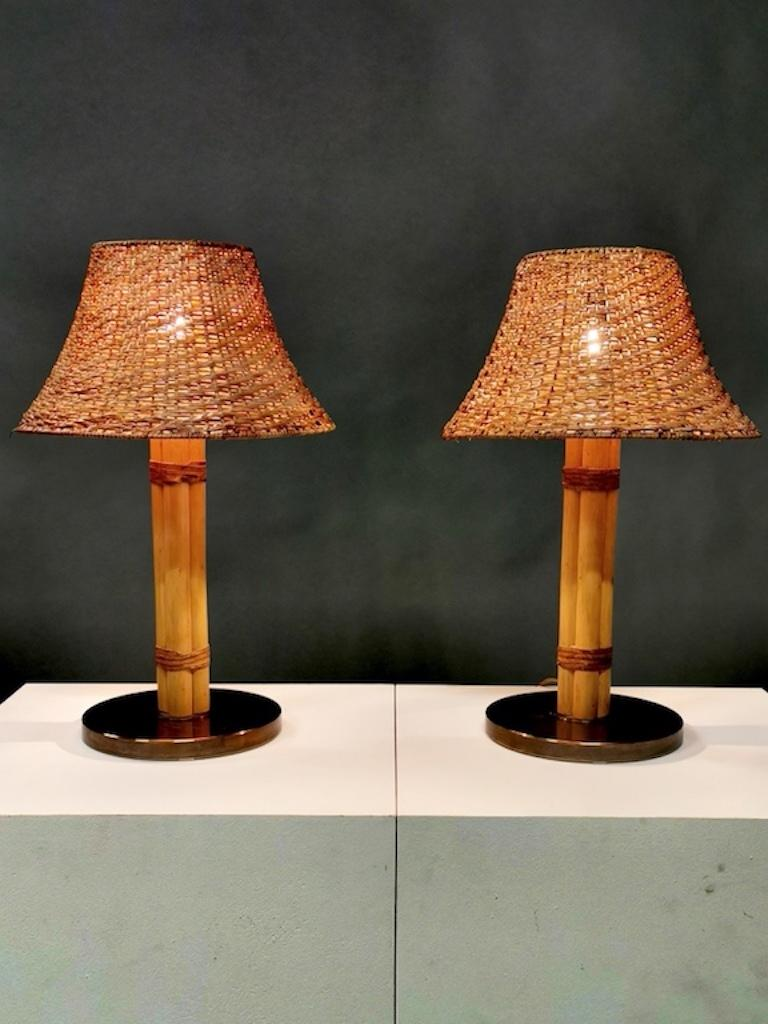 Rare table lamp by Bergboms in bamboo, leather and brass. Sweden, 1960s. Rewired, new shade. Excellent condition.