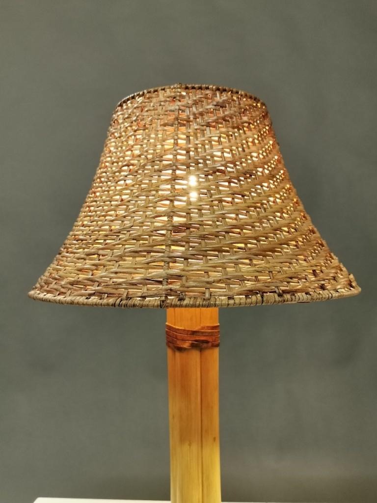 Scandinavian Modern Bergboms Table Lamp, Bamboo, Leather and Brass, Sweden, 1960s For Sale