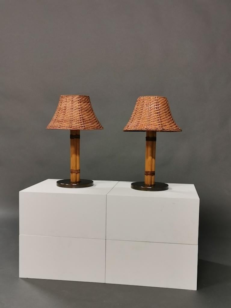 Swedish Bergboms Table Lamp, Bamboo, Leather and Brass, Sweden, 1960s For Sale