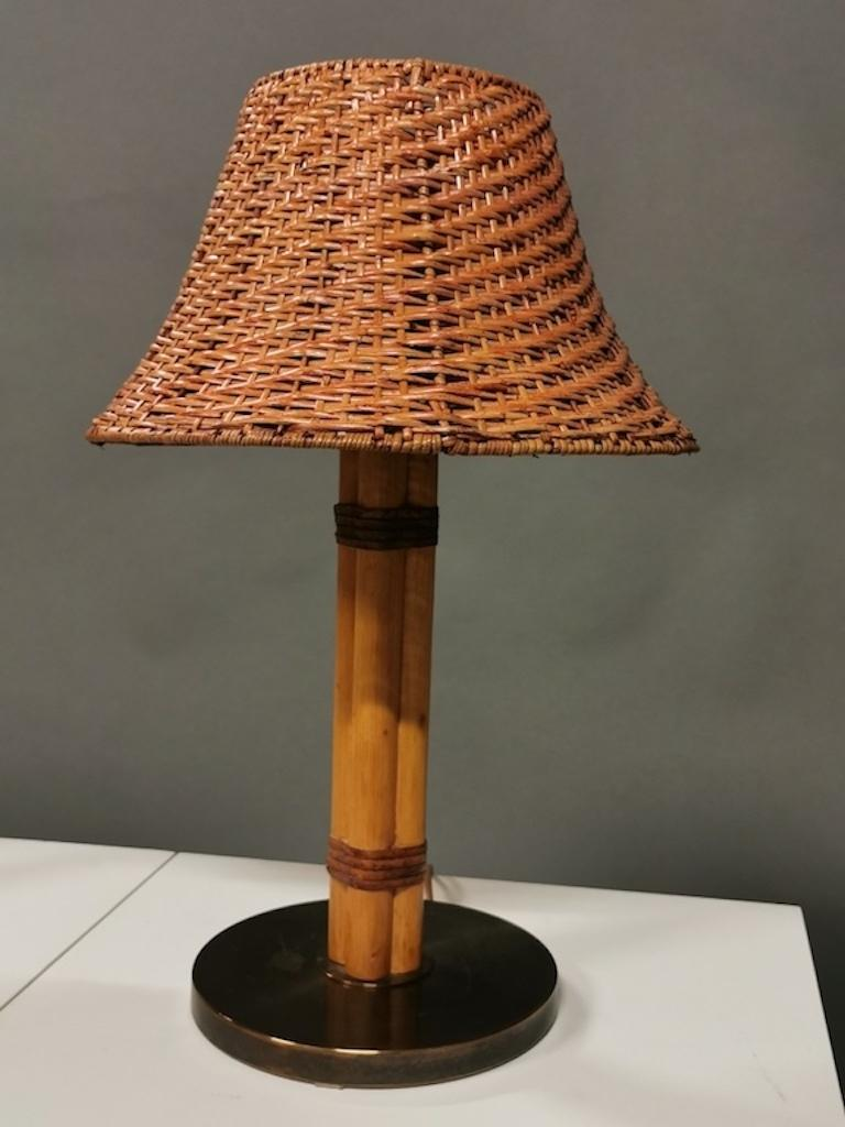 Bergboms Table Lamp, Bamboo, Leather and Brass, Sweden, 1960s In Good Condition For Sale In , DE