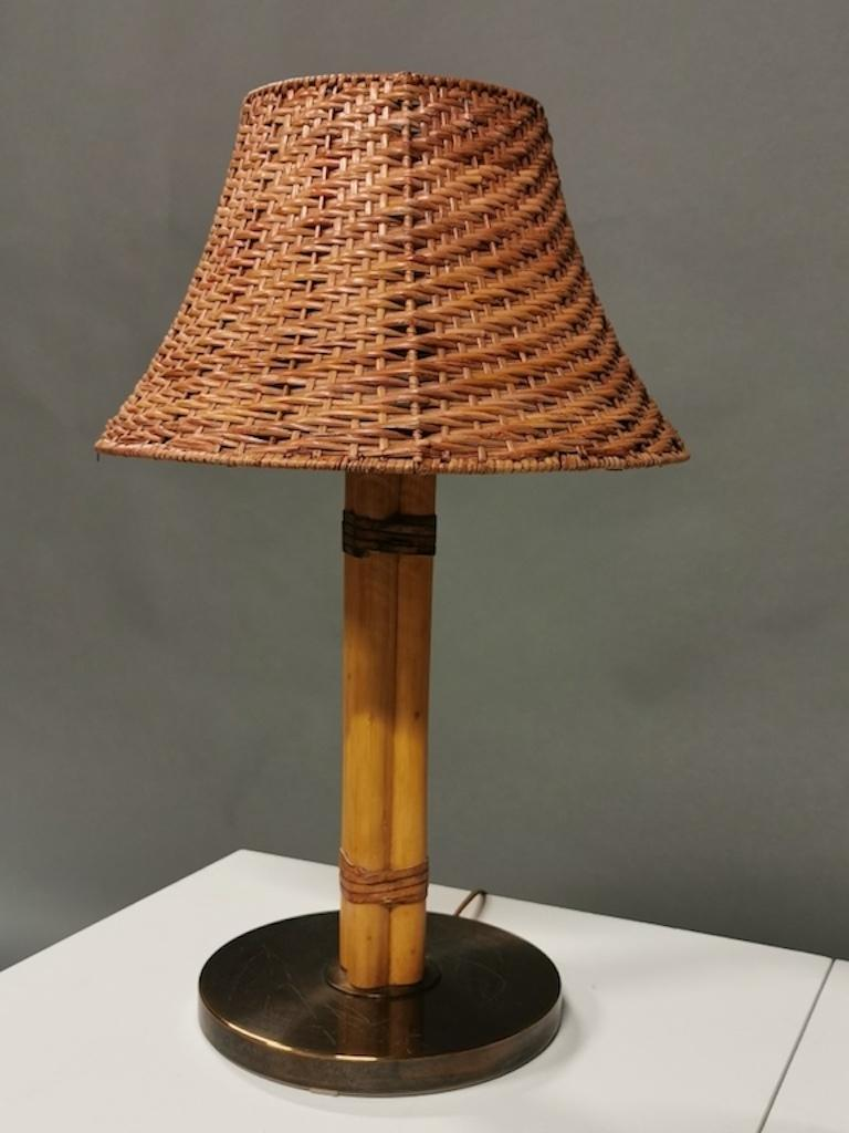 Mid-20th Century Bergboms Table Lamp, Bamboo, Leather and Brass, Sweden, 1960s For Sale