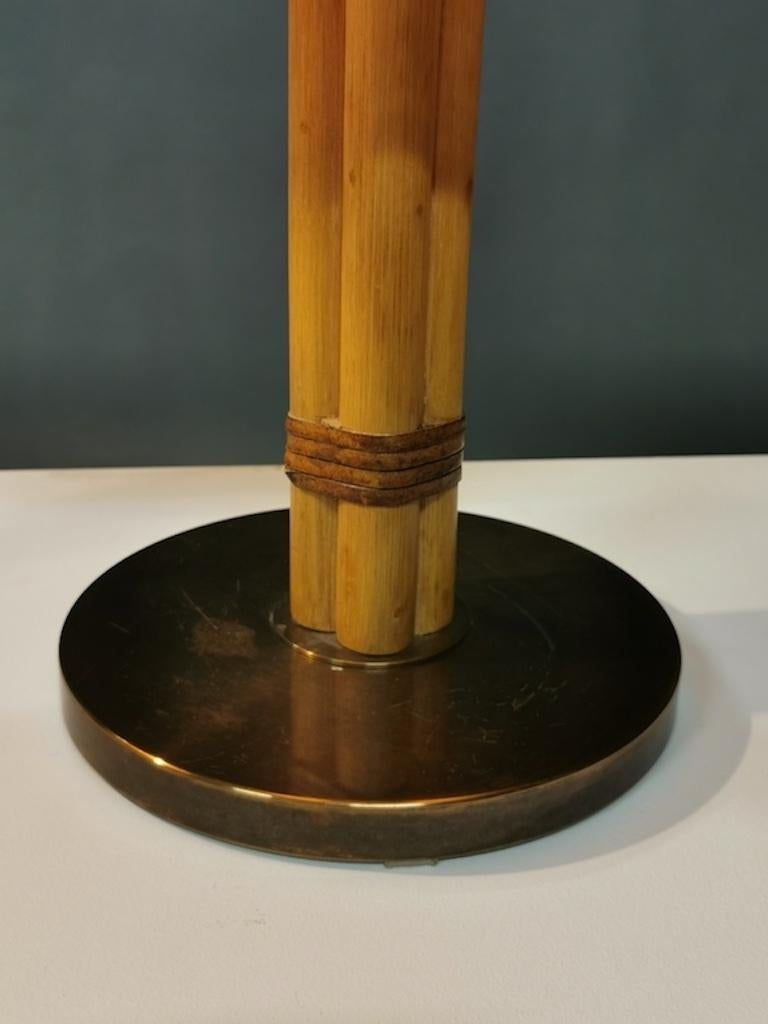 Bergboms Table Lamp, Bamboo, Leather and Brass, Sweden, 1960s For Sale 3