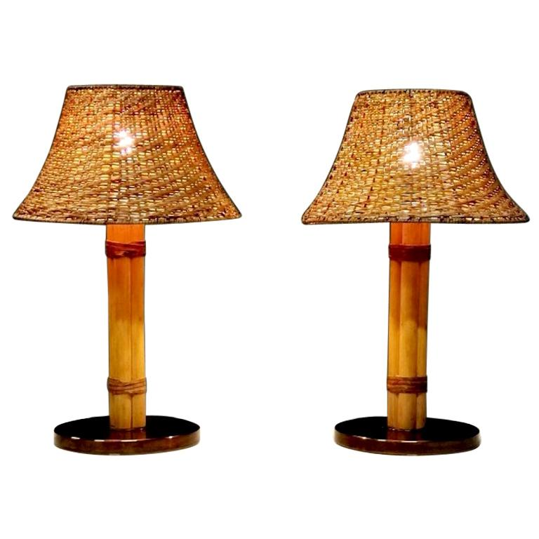 Bergboms Table Lamp, Bamboo, Leather and Brass, Sweden, 1960s For Sale