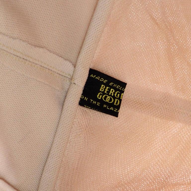 Bergdorf Goodman 1950s Vintage Beige Wool Snood Hat 5