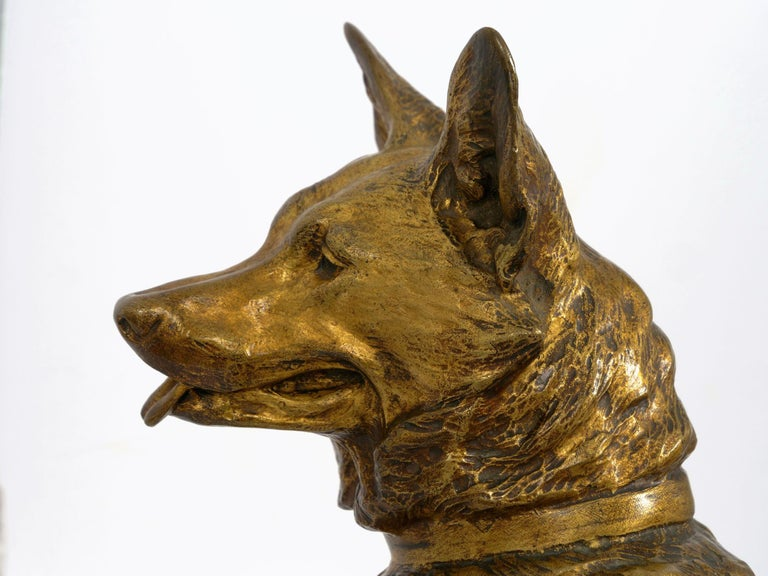 """""""Berger Allemand Assis"""" 'German Shepherd' French Bronze Sculpture by Louis Riché For Sale 7"""