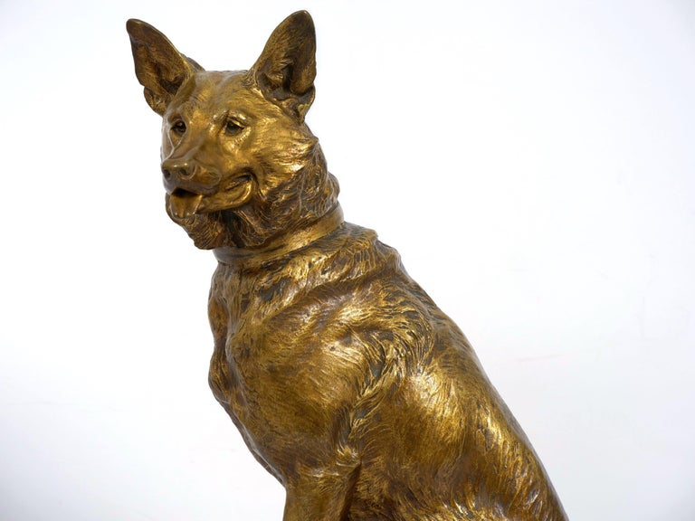 """""""Berger Allemand Assis"""" 'German Shepherd' French Bronze Sculpture by Louis Riché For Sale 8"""