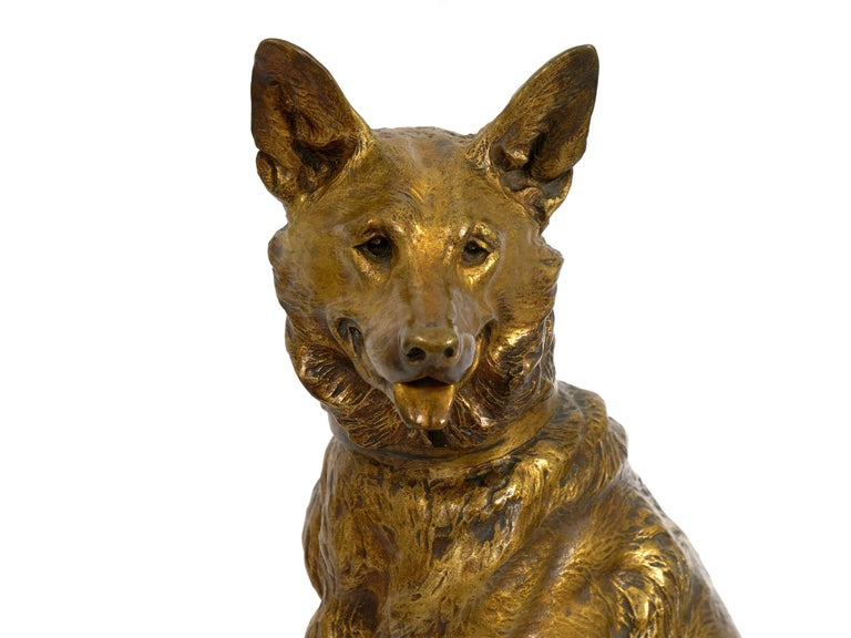 """""""Berger Allemand Assis"""" 'German Shepherd' French Bronze Sculpture by Louis Riché For Sale 10"""
