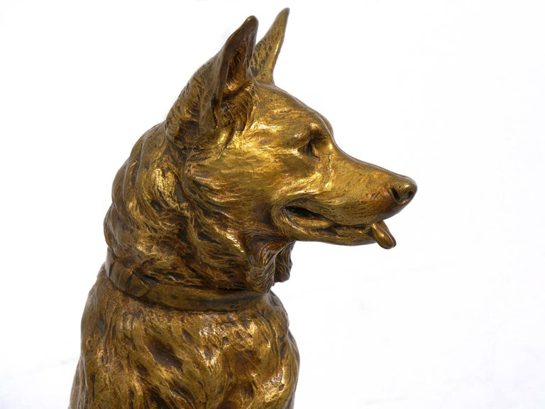 """""""Berger Allemand Assis"""" 'German Shepherd' French Bronze Sculpture by Louis Riché For Sale 13"""