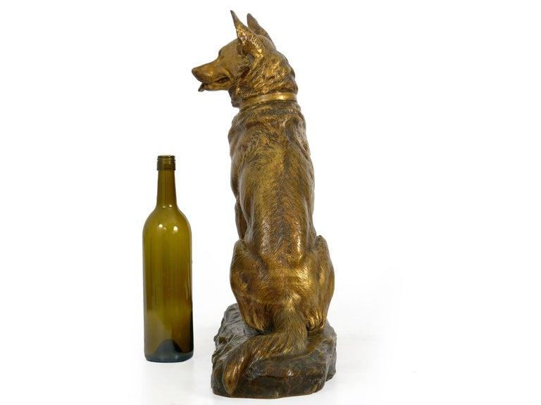 "Gilt ""Berger Allemand Assis"" 'German Shepherd' French Bronze Sculpture by Louis Riché For Sale"