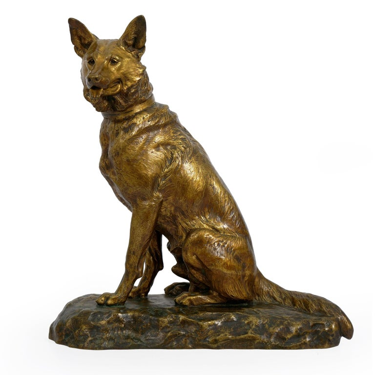 """""""Berger Allemand Assis"""" 'German Shepherd' French Bronze Sculpture by Louis Riché In Good Condition For Sale In Shippensburg, PA"""