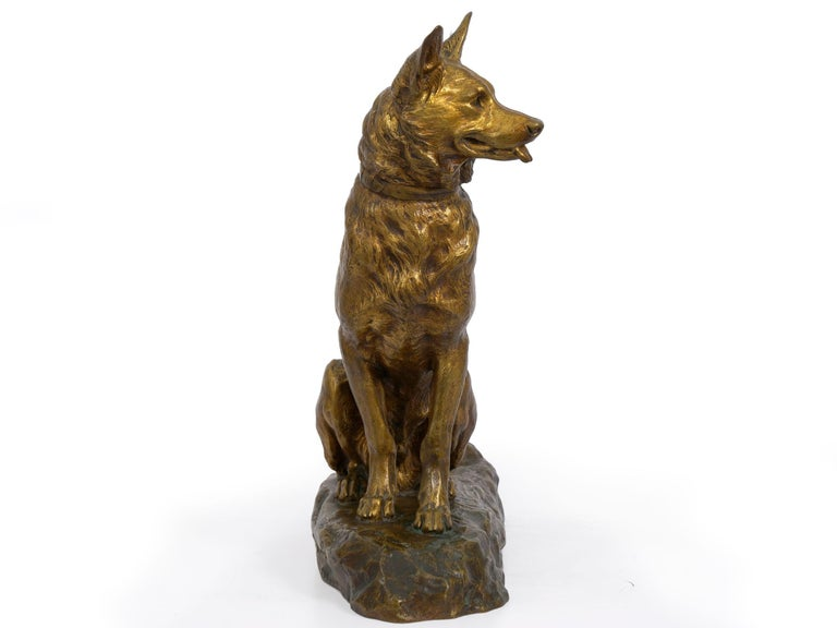 """20th Century """"Berger Allemand Assis"""" 'German Shepherd' French Bronze Sculpture by Louis Riché For Sale"""