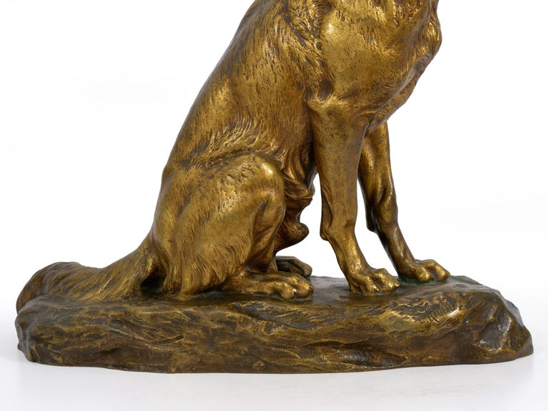 """""""Berger Allemand Assis"""" 'German Shepherd' French Bronze Sculpture by Louis Riché For Sale 2"""