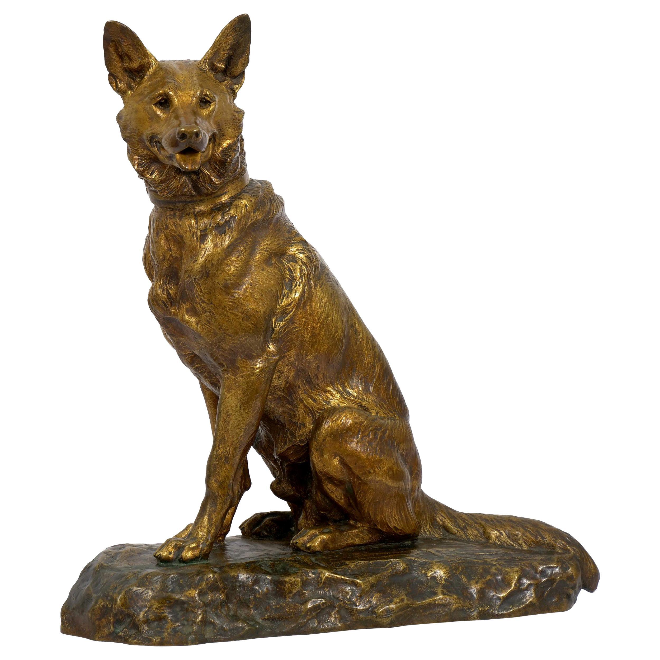 """Berger Allemand Assis"" 'German Shepherd' French Bronze Sculpture by Louis Riché"