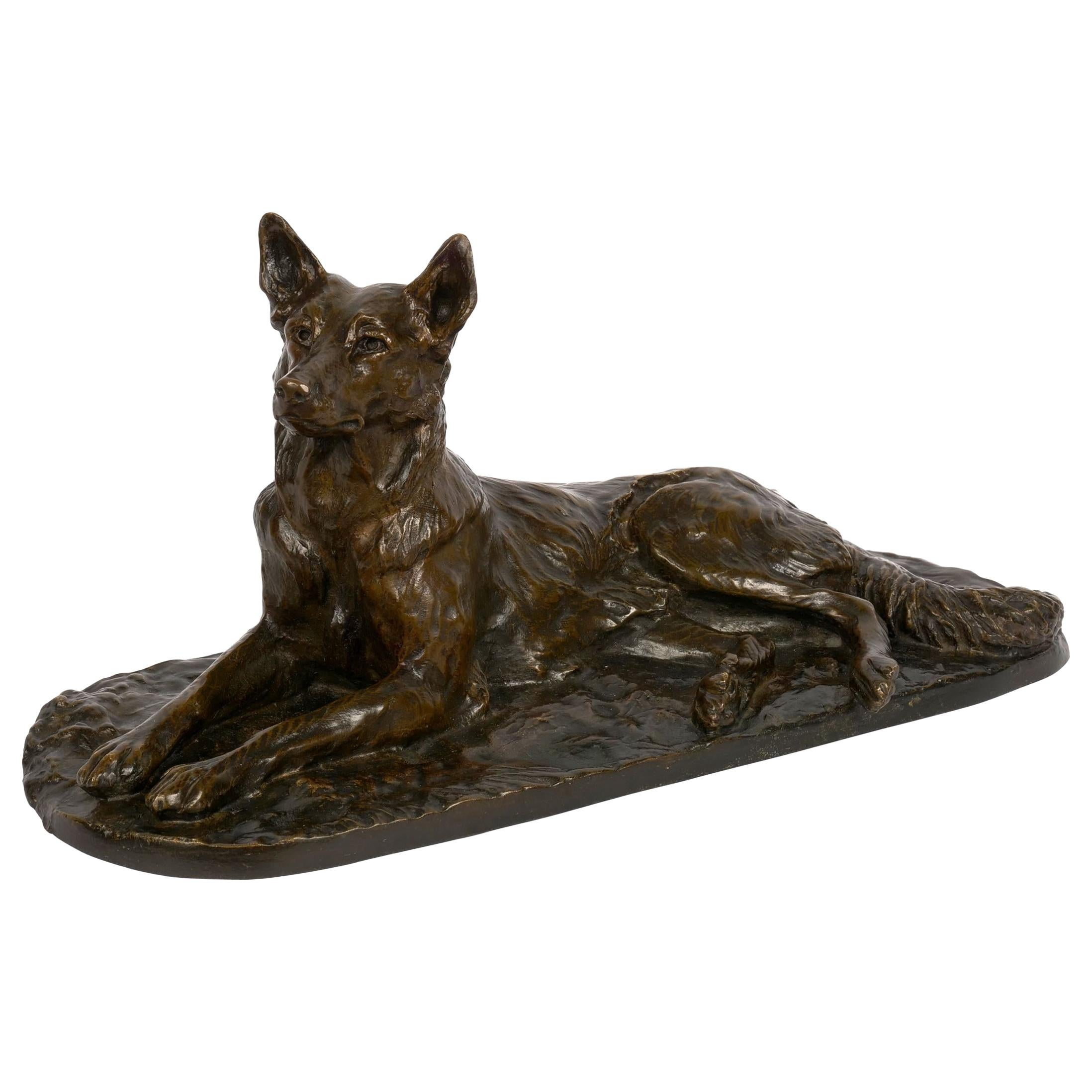 """""""Berger Allemand Couché"""" 'German Shepherd' Bronze Sculpture by Albert Laplanche"""
