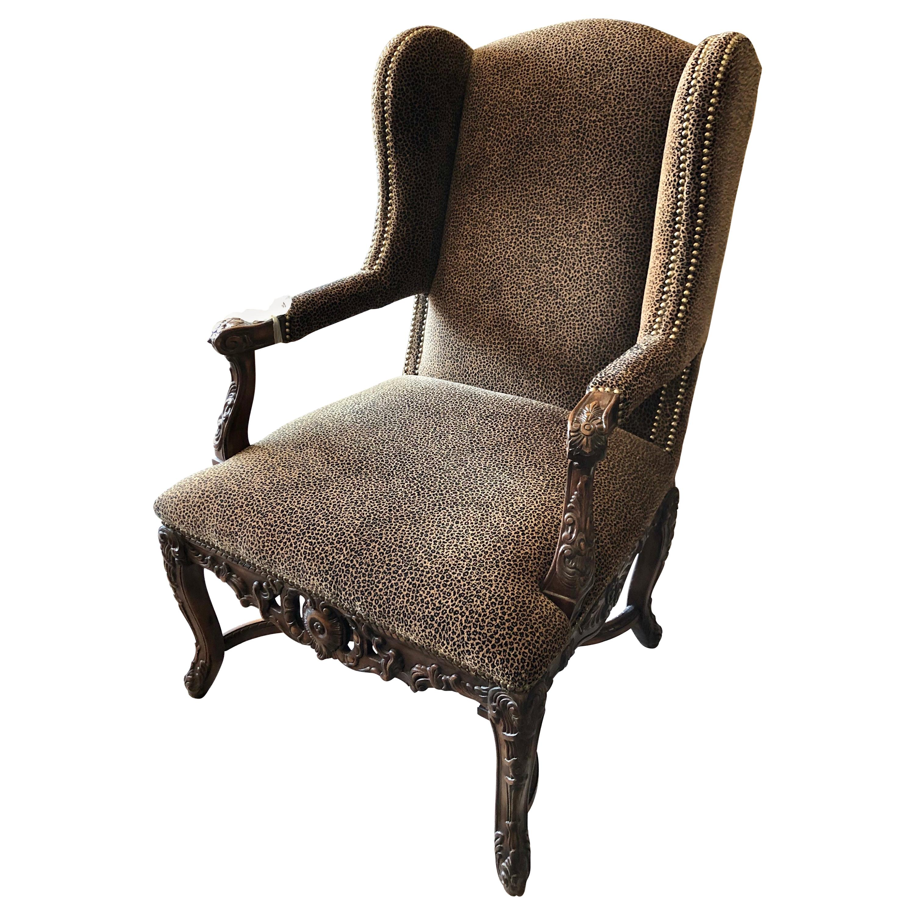 Late 19th Century Louis XVI Wingback Chair With Leopard Upholstery