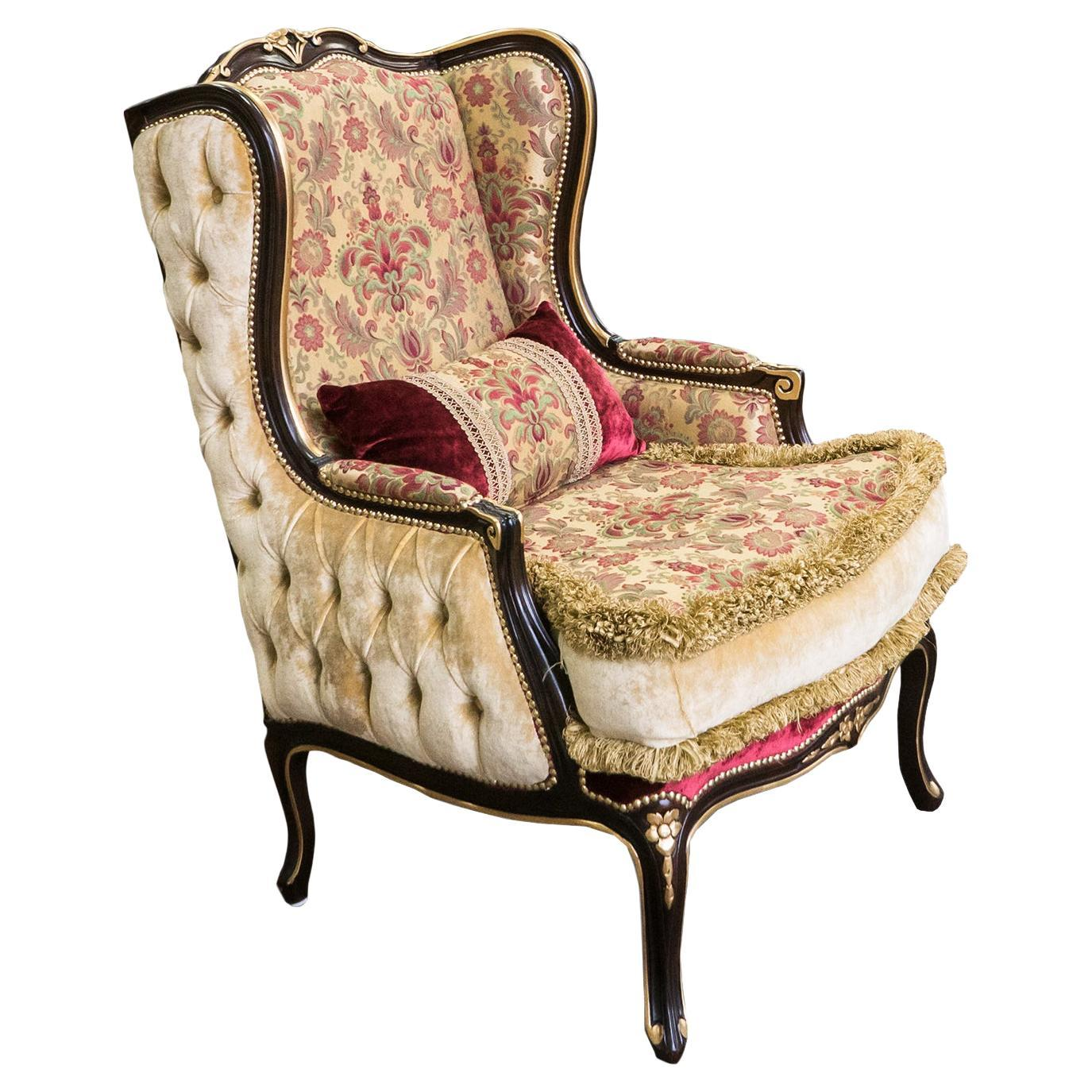 Bergere Armchair in Dark Walnut Finish and Patinated Gold Leaf by Modenese