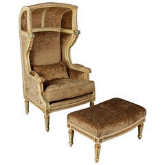 Bergere / Armchair with Stool in the Style of Louis XVI Solid Beechwood, Carved