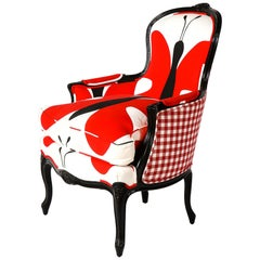 Bergère Chair with Black Lacquered Wood and Red/White/Black Printed Fabrics