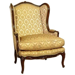 Bergère in Salmon Pink-Golden Upholstery, circa 1890