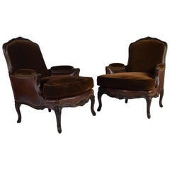 Bergère Louis XV Style Chairs in Mohair and Leather by Henredon