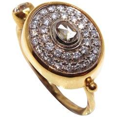 Bergsoe Oval Diamond 22 Karat Gold Ring