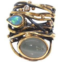 Bergsoe Unique Beryl Opal Diamond Twisted Ring