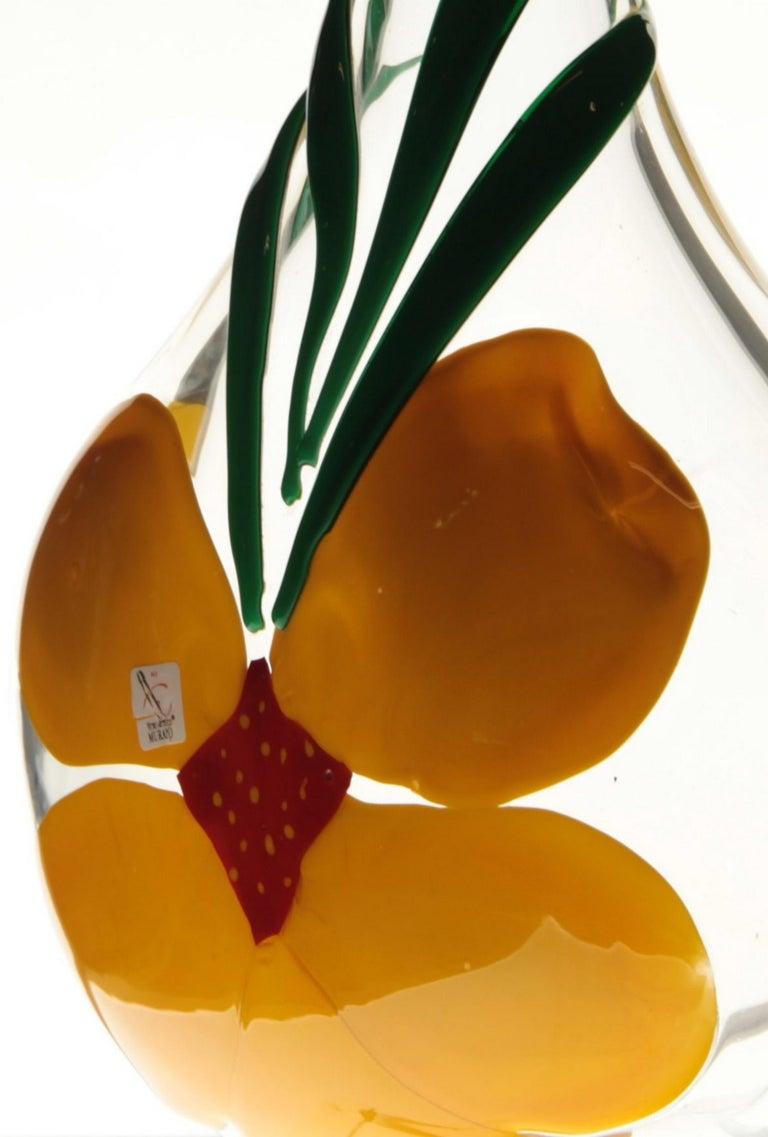 Berit Johansson for Pauly Murano Flask Monet's Giverny Nasturtium Beloved Flower For Sale 4