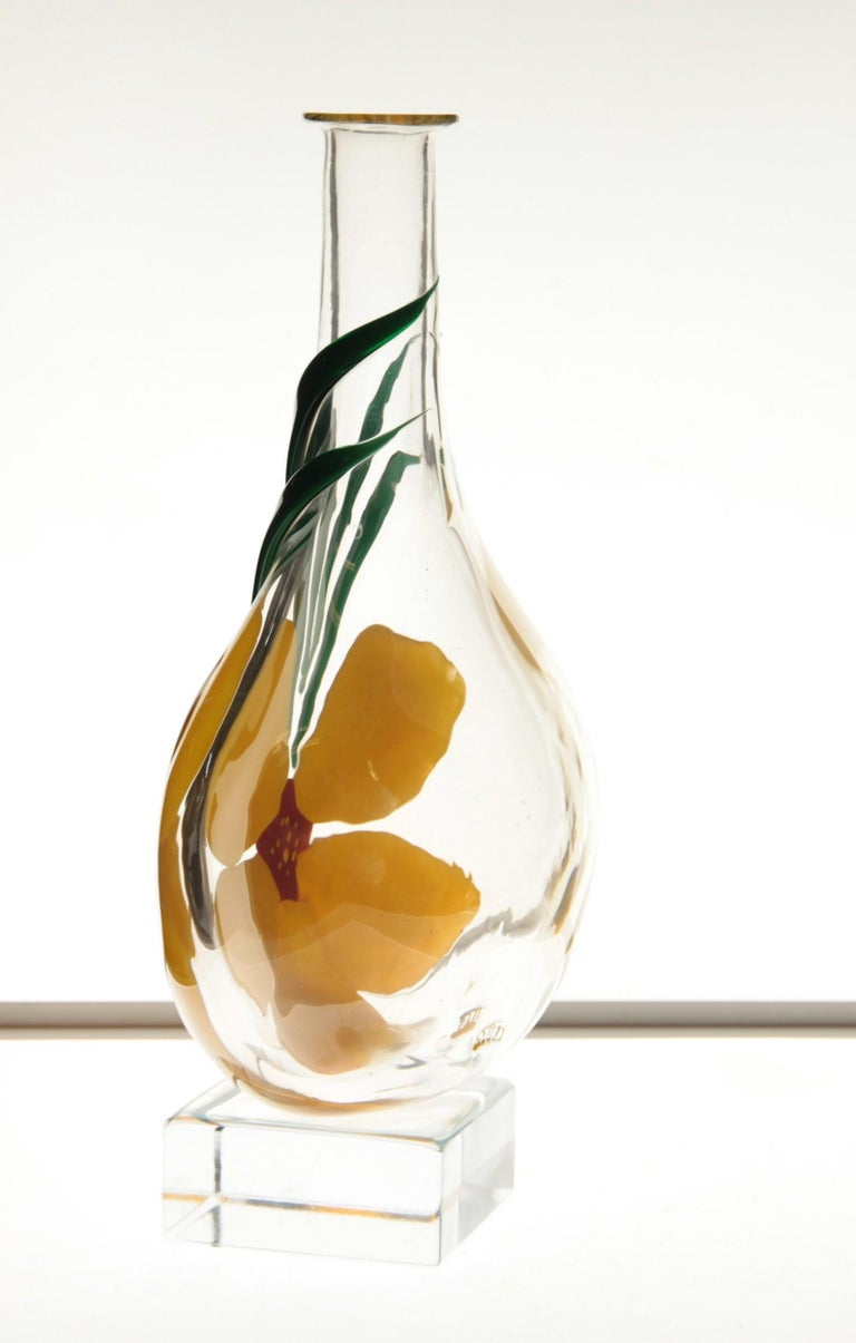 Berit Johansson for Pauly Murano Flask Monet's Giverny Nasturtium Beloved Flower For Sale 5