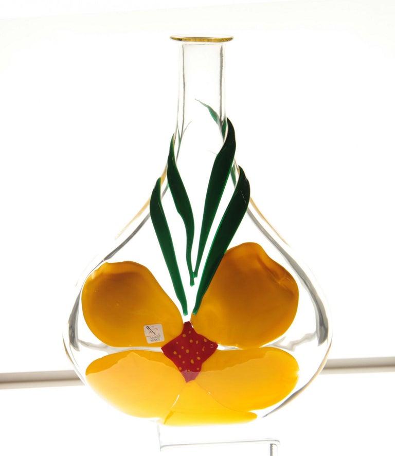 Berit Johansson for Pauly Murano Flask Monet's Giverny Nasturtium Beloved Flower For Sale 6