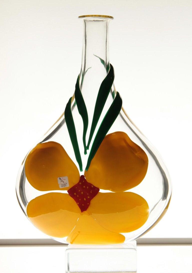 Berit Johansson for Pauly Murano Flask Monet's Giverny Nasturtium Beloved Flower For Sale 8
