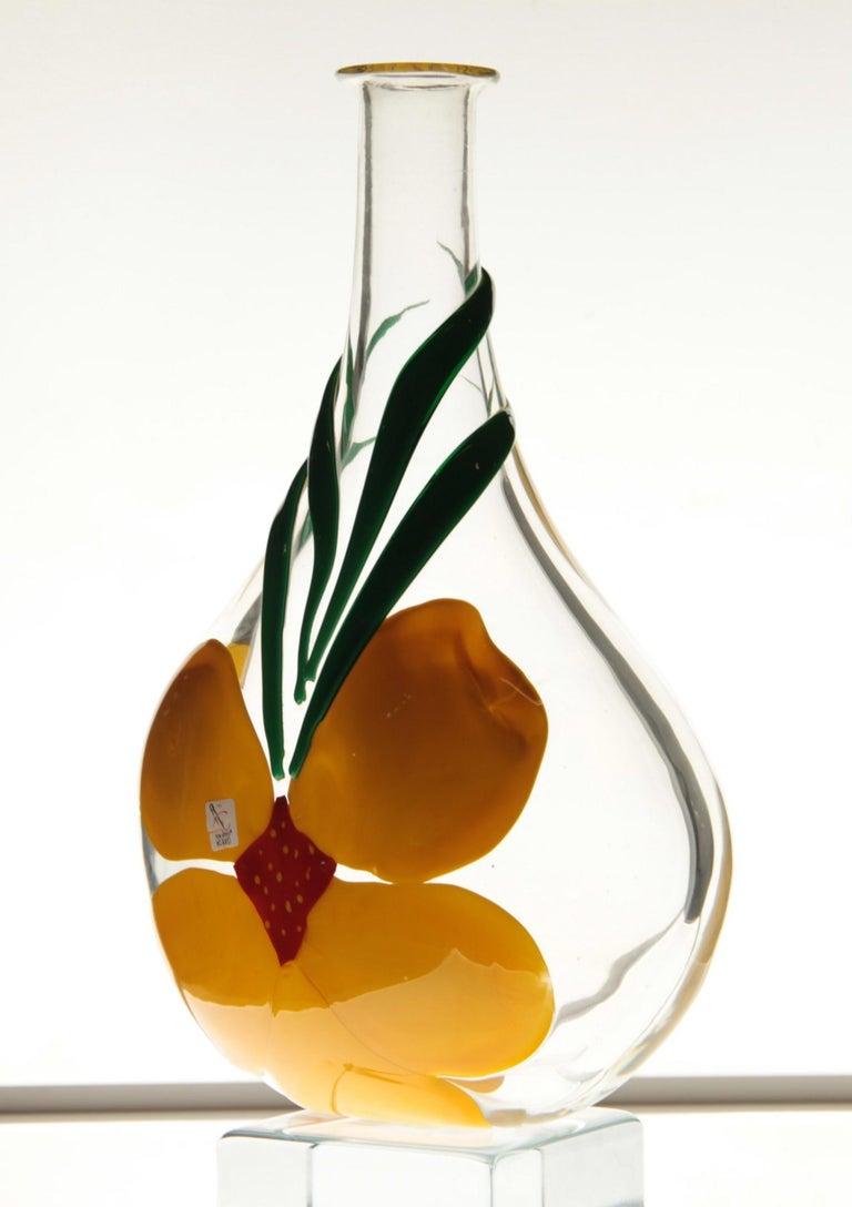 Berit Johansson for Pauly Murano Flask Monet's Giverny Nasturtium Beloved Flower For Sale 9