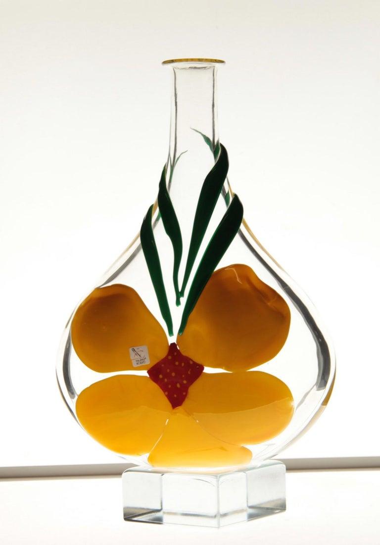 Berit Johansson for Pauly Murano Flask Monet's Giverny Nasturtium Beloved Flower For Sale 10