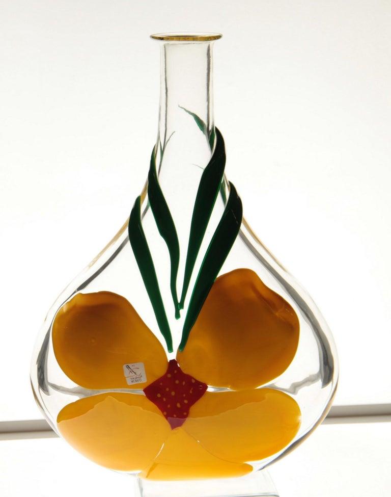 Berit Johansson for Pauly Murano Flask Monet's Giverny Nasturtium Beloved Flower For Sale 11